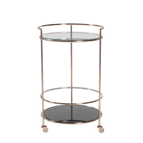 Roberta-Hr Rolling Cart In Brushed Copper With Clear And Black Printed Tempered Glass Shelves Serving
