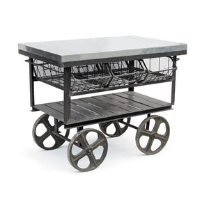 Factory Industrial Station Cart Galvanized Steel Serving