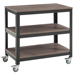 Vivify Tiered Serving Stand Gray Walnut Cart