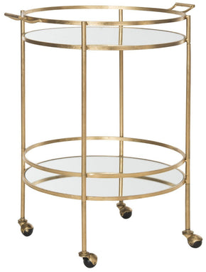 Lavinia Bar Cart Gold/mirror Top Serving