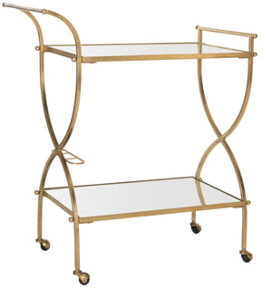 Serving Carts - Safavieh FOX2556B Lucretius Bar Cart Gold/Mirror Top | 683726732785 | Only $264.80. Buy today at http://www.contemporaryfurniturewarehouse.com