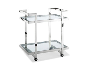 Vegas Side Table/ Bar Cart Clear Glass Serving