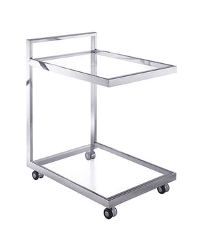 Sandra Side Table/ Bar Cart Clear Glass Serving