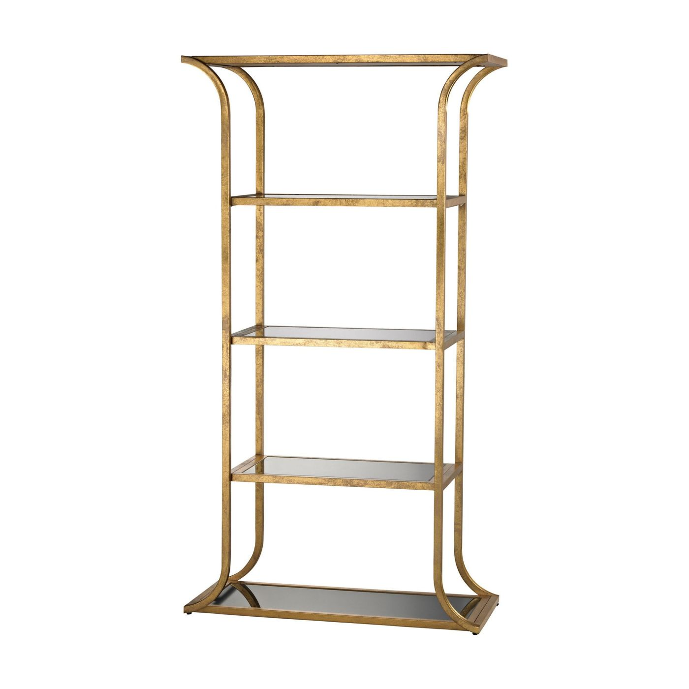 Petronas Bookshelf Antique Gold Leafblack Glass Shelf