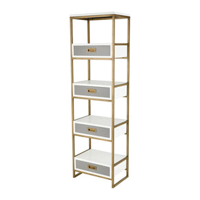 Olympus Shelving Unit Aged Brass,white,grey Shelf