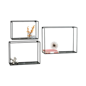 Quadro Set Of 3 Wall Shelves Black Shelf