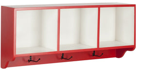 Alice Wall Shelf With Storage Compartments Hot Red/white