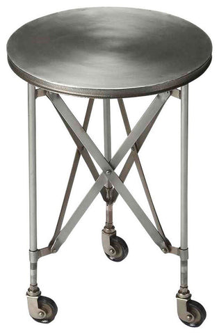 Side Tables - Butler Furniture BUT-1168330 Costigan Industrial Modern Round Accent Table Silver | 797379029762 | Only $249.00. Buy today at http://www.contemporaryfurniturewarehouse.com