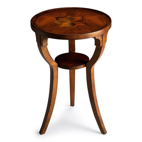 Dalton Traditional Round Accent Table Medium Brown Side