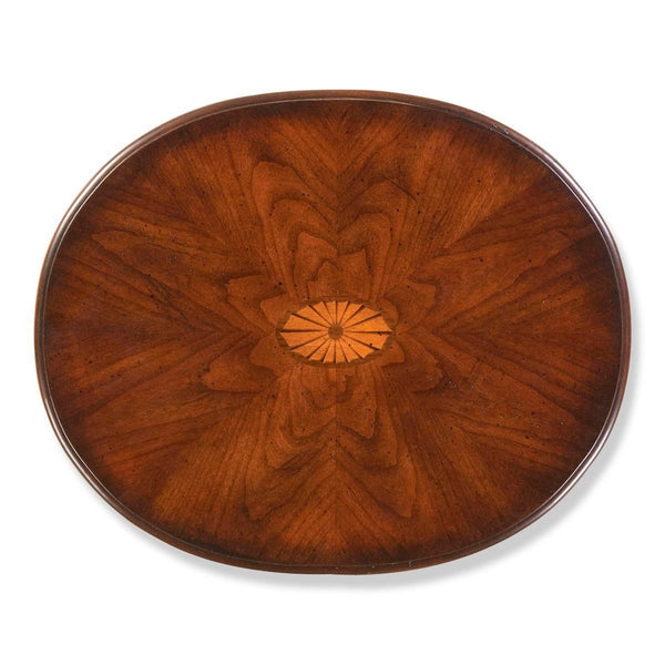 Arielle Traditional Oval Accent Table Dark Brown Side