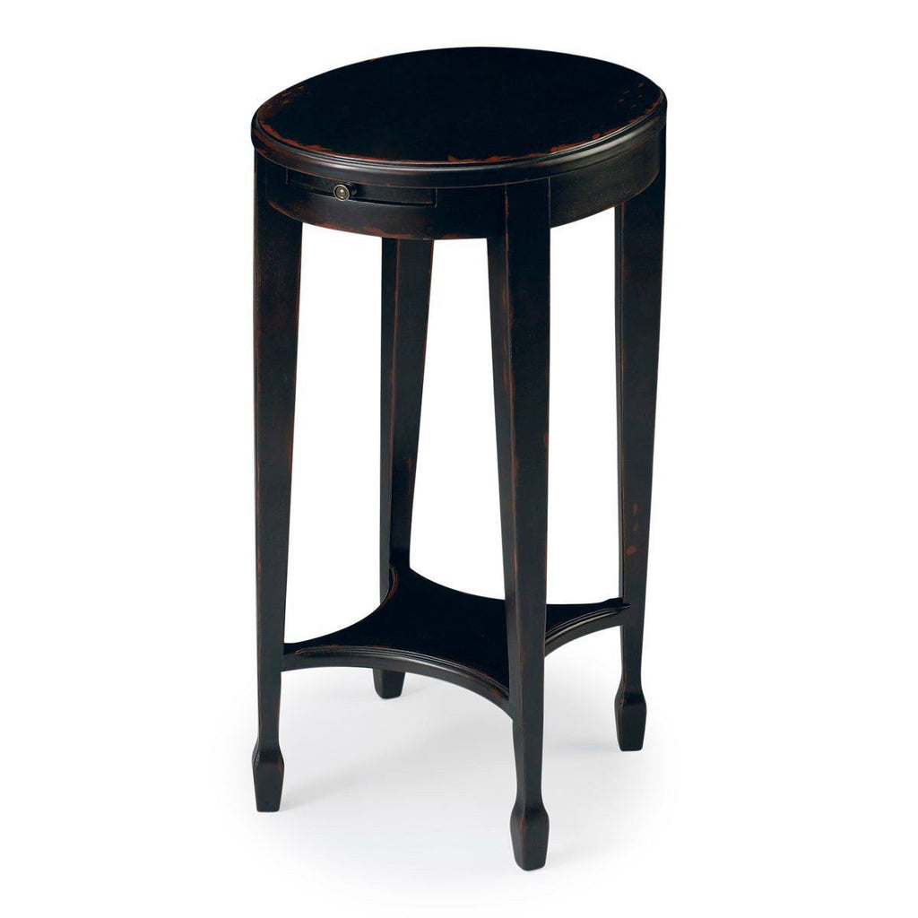 Arielle Transitional Oval Accent Table Black Side