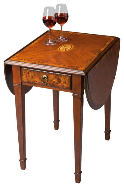 Glenview Traditional Rectangular Pembroke Table Medium Brown Side