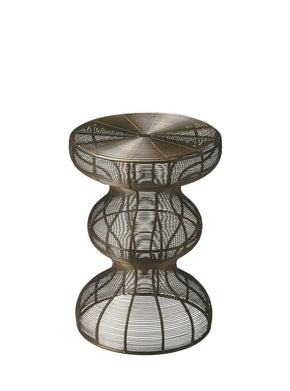 Angeline Transitional Round Accent Table Bronze Side