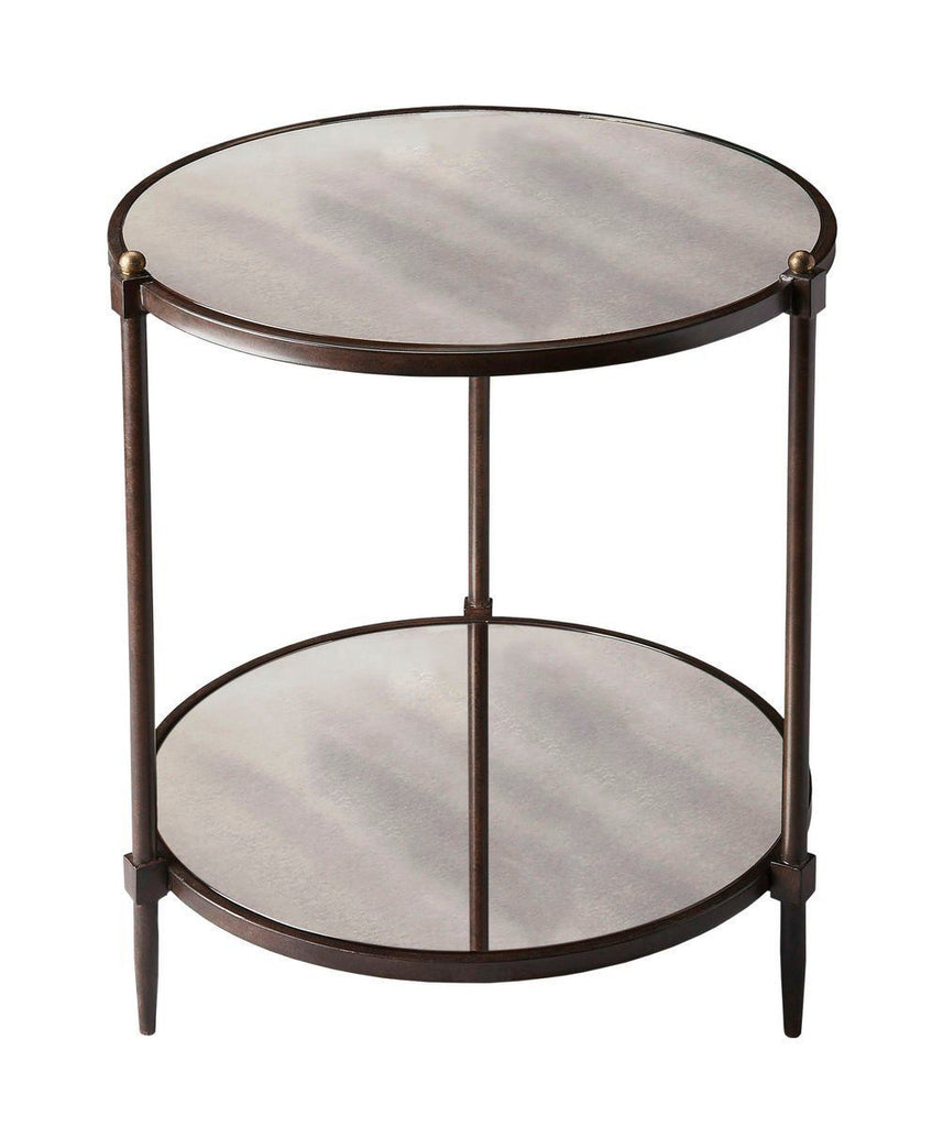 Buy Butler Furniture BUT 3048025 Peninsula Transitional Round Side Table  Gray Tubular Steel And Mirrored Glass At Contemporary Furniture Warehouse