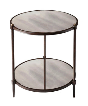 Peninsula Transitional Round Side Table Gray Tubular Steel And Mirrored Glass