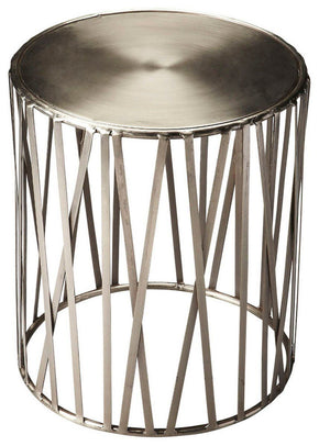 Kruse Modern Round Drum Table Silver Side