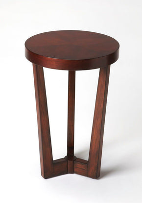 Aphra Transitional Round Accent Table Dark Brown Side