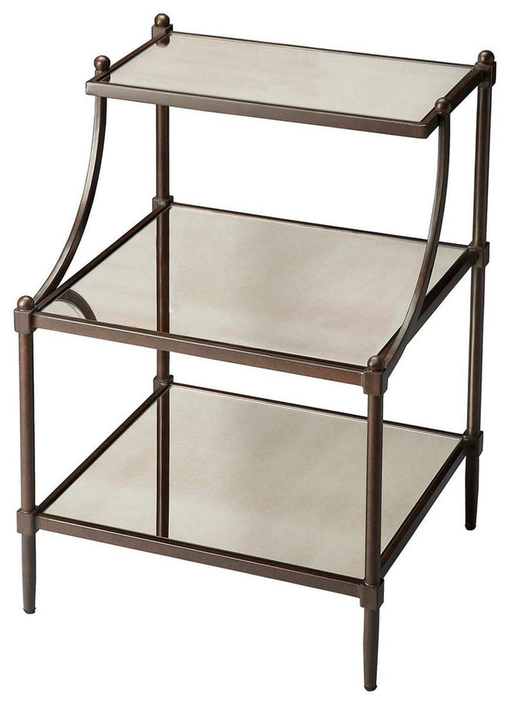 Peninsula Transitional Rectangular Tiered Side Table Gray ...