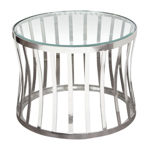 Side Tables - Diamond Sofa CAPRIETST Capri Round Stainless Steel End Table w/ Clear, Tempered Glass Top | 642125443586 | Only $349.00. Buy today at http://www.contemporaryfurniturewarehouse.com