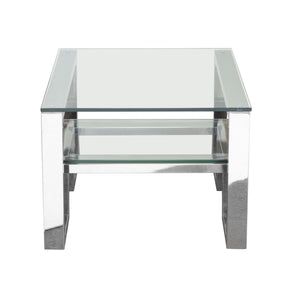 Carlsbad End Table With Clear Glass Top & Shelf Stainless Steel Frame Side