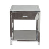 Corleo 1-Drawer Accent Table in Polished Stainless Steel