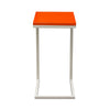 Sleek Metal Frame Accent Table with Gloss Top & Metal Frame - Orange