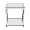X-Factor End Table with Clear Glass Top & Shelf with Brushed Stainless Steel Frame