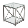 X-Factor End Table With Clear Glass Top & Shelf Brushed Stainless Steel Frame Side