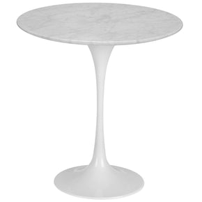 "Side Tables - EdgeMod EM-142-WHI Daisy 20"" Marble Side Table in White Base 