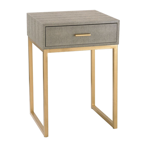 Shagreen Side Table In Grey Faux With Gold
