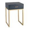 Side Table in Faux Navy Shagreen With Gold