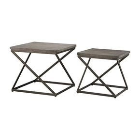 Moya Aged Iron Set Of 2 Metal And Concrete Accent Tables Iron,polished Side Table
