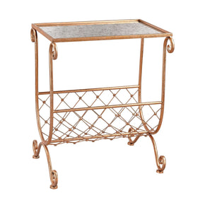 Copper Side Table With Magazine Rack Copper,black Mirror
