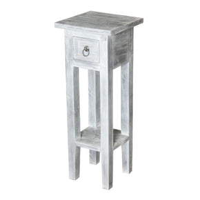 Shutter End Table White Washed Wash Side