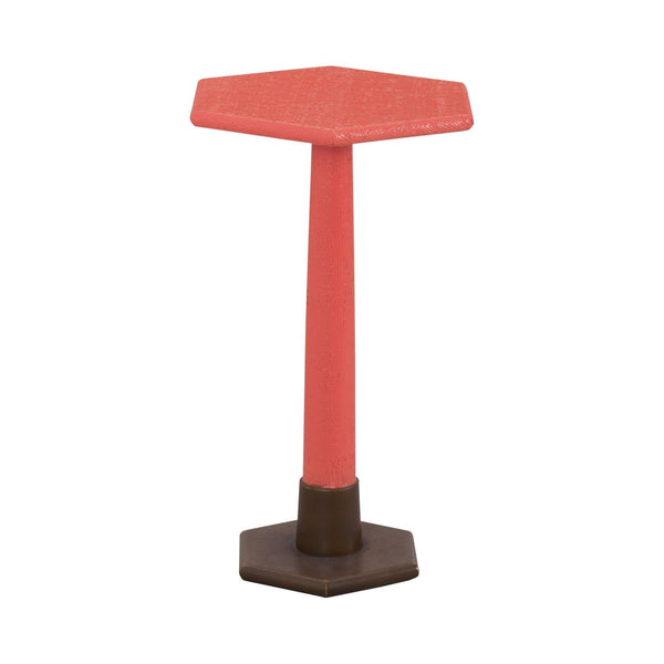 Launch Pad Coral Accent Table Natural Raffia,coral,aged Brass Tone Side