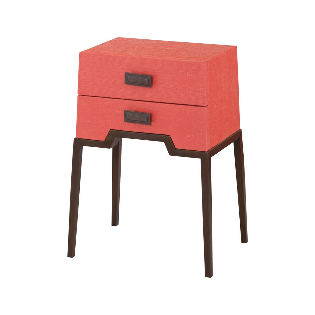 Ziggy Grapefruit Accent Table Natural Raffia,coral,aged Brass Tone Side