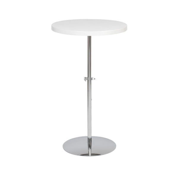 Raymond Adjustable Side Table In White With Chrome Base