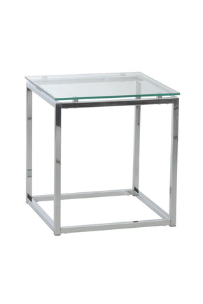 Sandor Square Side Table In Clear Glass With Chrome Base