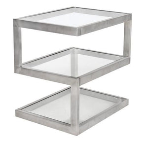 5S End Table Stainless Steel  Glass Side