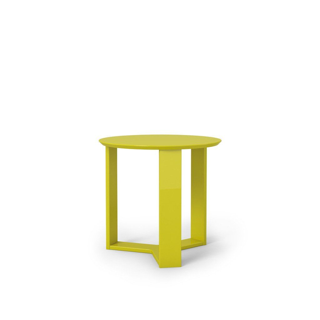 Madison 2.0- 23.85 Round Accent End Table In Lime Gloss Side