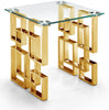 Side Tables - Meridian 214-E Pierre Gold End Table Glass Top | 647899947377 | Only $339.80. Buy today at http://www.contemporaryfurniturewarehouse.com
