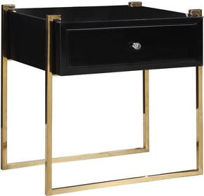 Annie Side Table Gold Stainless Steel Black Glass