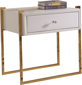 Annie Side Table Gold Stainless Steel White Glass