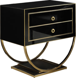 Alyssa Side Table Gold / Black Glass