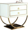Side Tables - Meridian 806 Alyssa Side Table Gold / White Glass | 647899948534 | Only $544.80. Buy today at http://www.contemporaryfurniturewarehouse.com