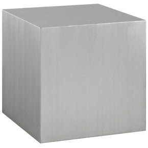 Cast Brushed Stainless Steel Side Table Silver