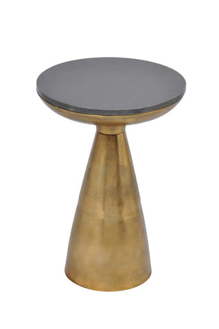 Font Side Table Brass / Black Granite