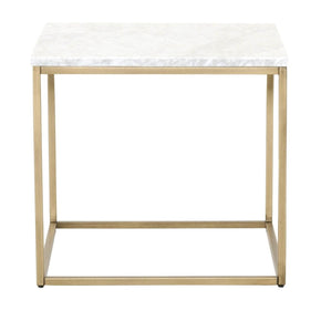 Carrera End Table White Marble / Brushed Gold Side