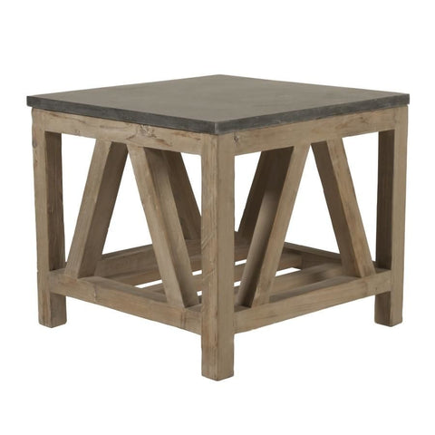 Blue Stone End Table / Smoke Gray Reclaimed Wood Side