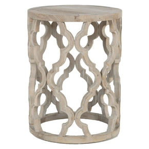 Clover End Table Smoke Gray Recycled Wood Side